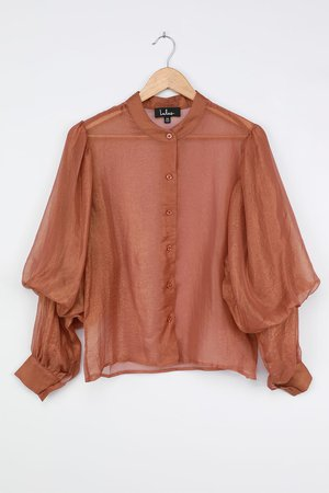 Brown Puff Sleeve Top - Shiny Button-Up Top - Collared Blouse