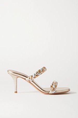 70 Braided Metallic Leather Sandals - Gold