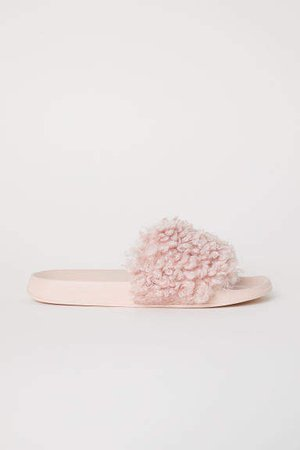 Faux Fur Slides - Pink