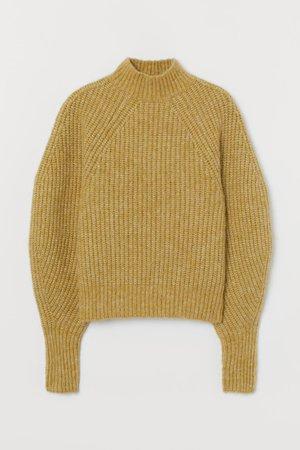 Ribbed wool-blend jumper - Yellow-beige - Ladies | H&M GB