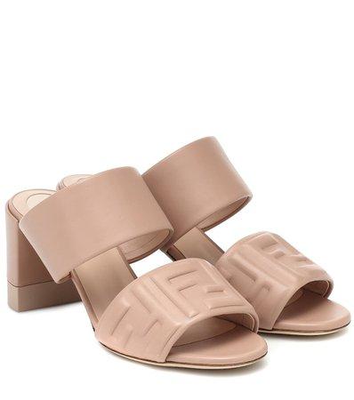 Fendi - FF embossed leather sandals | Mytheresa