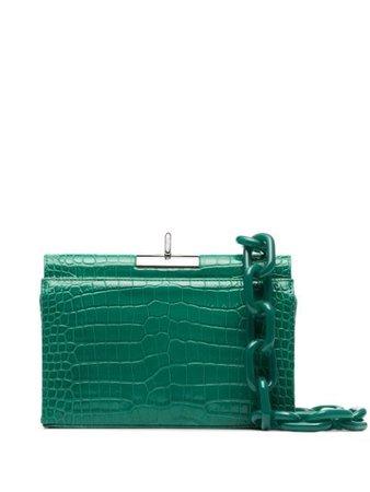 Gu_De Luxy Croc Effect Patent-Leather Clutch Bag G020SM009C Green | Farfetch