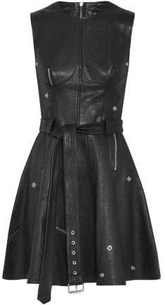 Zip-embellished Textured-leather Mini Dress