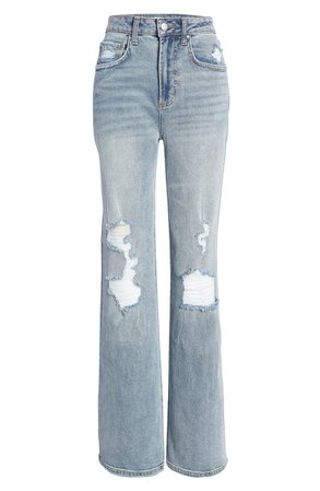 High Waist Distressed Wide Leg Jeans | Nordstrom