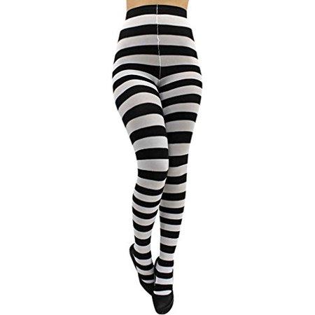 Black & White Horizontal Wild Striped Tights