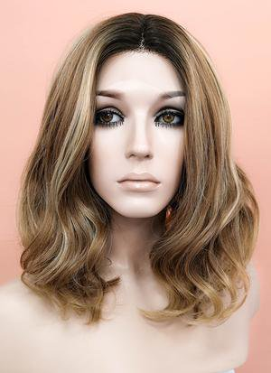 Mixed Brown With Dark Roots Wavy Bob Lace Front Synthetic Wig LF1666 – Wig Is Fashion