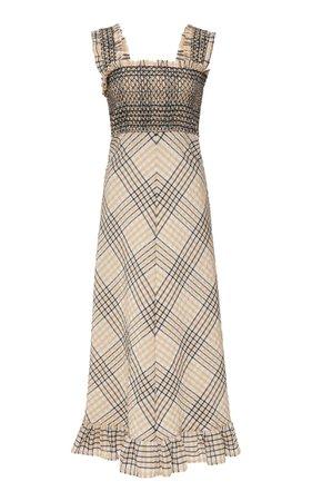Ganni Smocked Seersucker Midi Dress