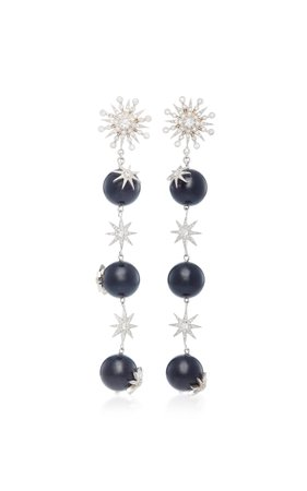Colette Jewelry Starburst 18K White Gold Diamond and Agate Earrings