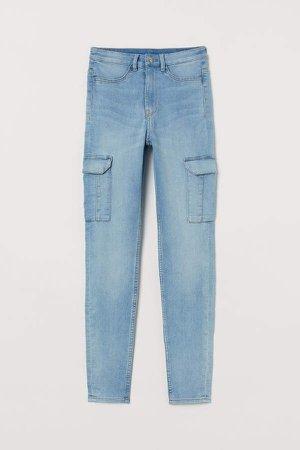Slim High Cargo Jeans - Blue
