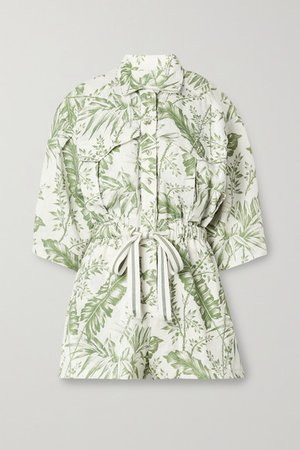 Empire Printed Linen Playsuit - Ivory