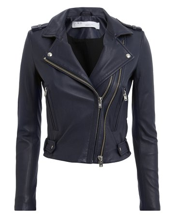 Jett Navy Leather Jacket