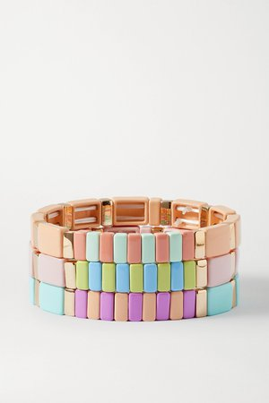 Pastel pink Soft Serve set of three enamel and gold-tone bracelets | Roxanne Assoulin | NET-A-PORTER
