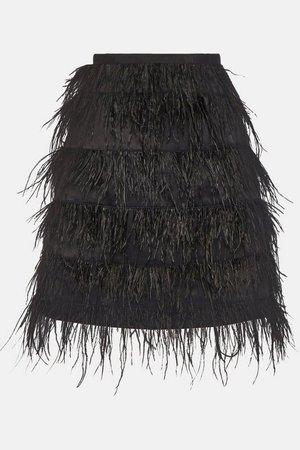 Feather Mini Skirt | Karen Millen