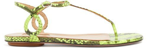 Almost Bare Snake-effect Leather Sandals - Green