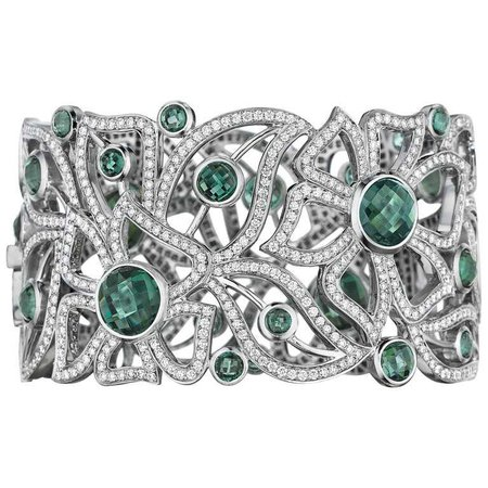 Bespoke 18K WG 17.01 Ct Tourmaline, 8.75 Ct Diamond Carelle Floral Cuff Bracelet For Sale at 1stdibs