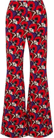Floral-print Jersey Wide-leg Pants - Red