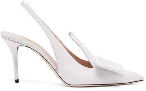 Buckle Grosgrain And Leather Slingback Pumps - Womens - White