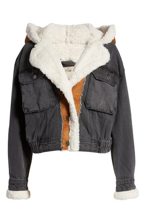 We the Free by Free People Perry Hooded Denim Jacket with Faux Shearling Trim | Nordstrom