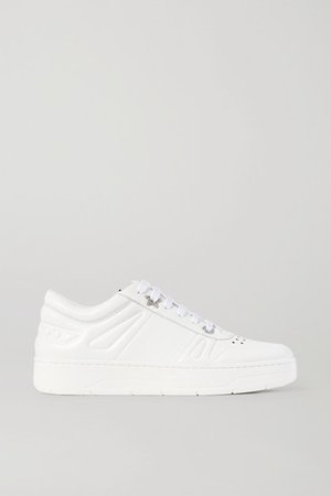 Hawaii Crystal-embellished Perforated Leather Sneakers - White
