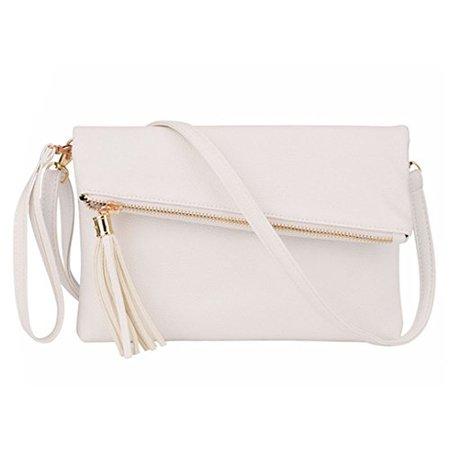 Orfila Foldover Clutch Bag Purse Womens Leather Evening Wristlet Handbag Shoulder Cross Body Bag with Tassel