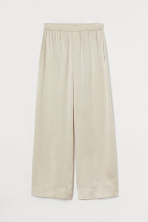 Wide-leg Silk Pants - Beige