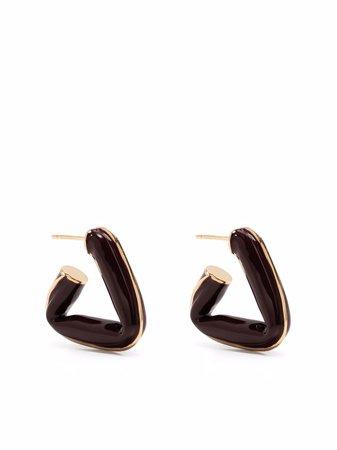Shop Bottega Veneta triangle hoop earrings with Express Delivery - FARFETCH