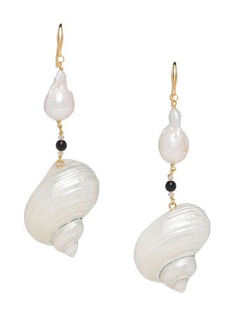 Prada Shell Drop Earrings 1JO6382DIZ White | Farfetch