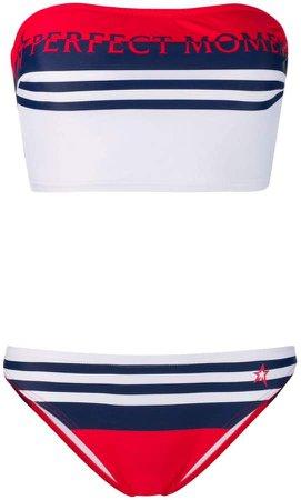 striped bandeau bikini