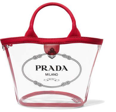 Canvas-trimmed Logo-print Pvc Tote - Red
