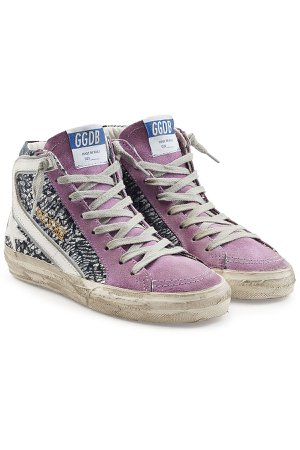 Slide High-Top Sneakers with Leather and Suede Gr. EU 36