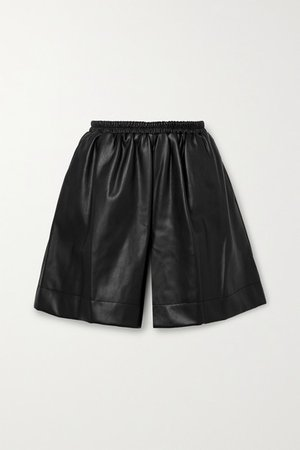 Clark Faux Leather Shorts - Black