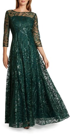 Embroidered Sequin A-Line Gown