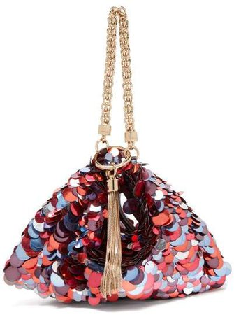Callie Sequinned Satin Clutch Bag - Womens - Red Multi