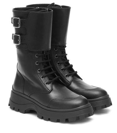 Miu Miu - Leather combat boots | Mytheresa