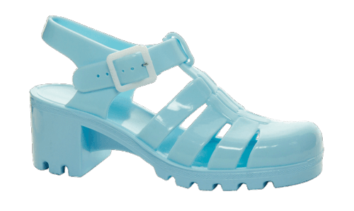 pastel blue jelly shoes