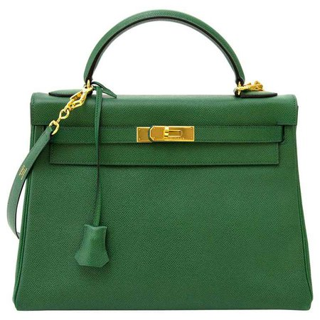 Hermes Vert Bengal Courchevel Leather Kelly 32 Bag For Sale at 1stdibs