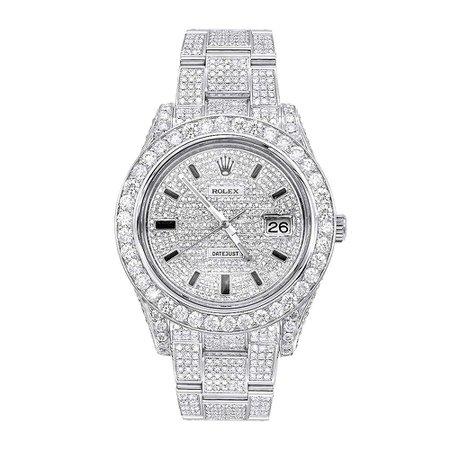 Rolex Diamond Silver Watch