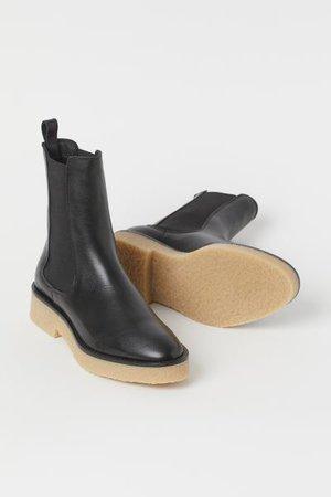Leather Chelsea Boots - Black - Ladies | H&M US