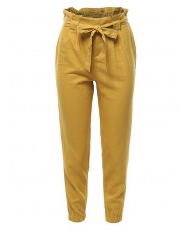 Women's Linen Paper Bag High Waist Pants - FashionOutfit.com