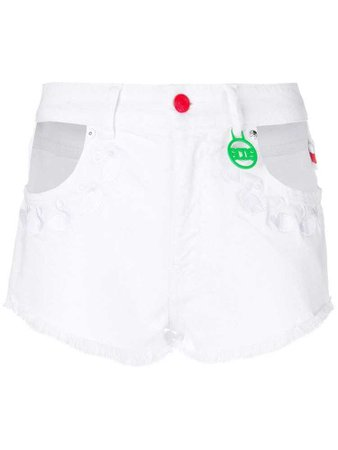 Gcds embroidered flamingos denim shorts - White