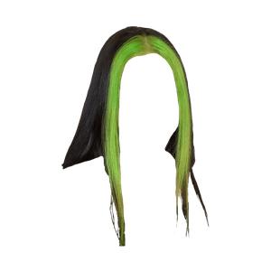 Black Hair with Green Bangs PNG