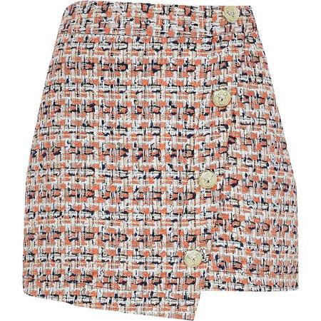Orange asymmetric boucle button mini skirt   River Island