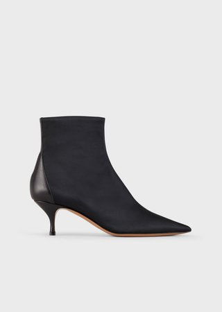 Satin Ankle Boots With Leather Insert