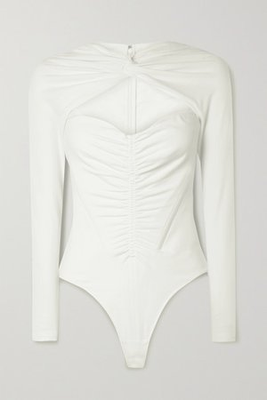 Ruched Cutout Cotton-blend Jersey Thong Bodysuit - Ivory