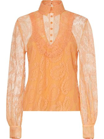 Shop orange Fendi lace layered blouse with Express Delivery - Farfetch