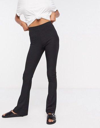 Topshop skinny ribbed flare pants in black | ASOS