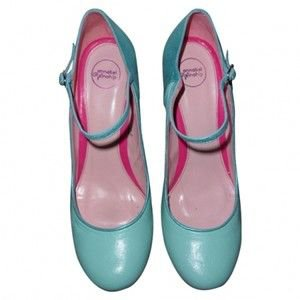 mint green blue pink Mary Jane shoes
