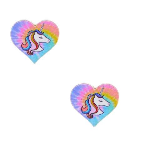 Tie Dye Unicorn Heart Stud Earrings   Claire's US