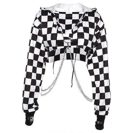 Checkerboard Crop Chain Hoodie – Own Saviour