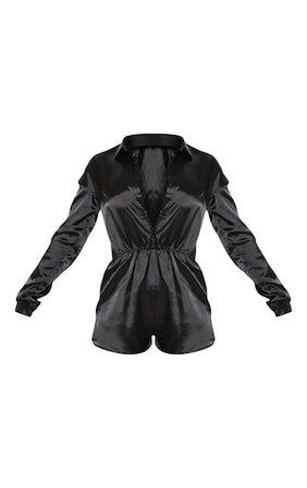 Black Satin Shirt Romper | PrettyLittleThing USA